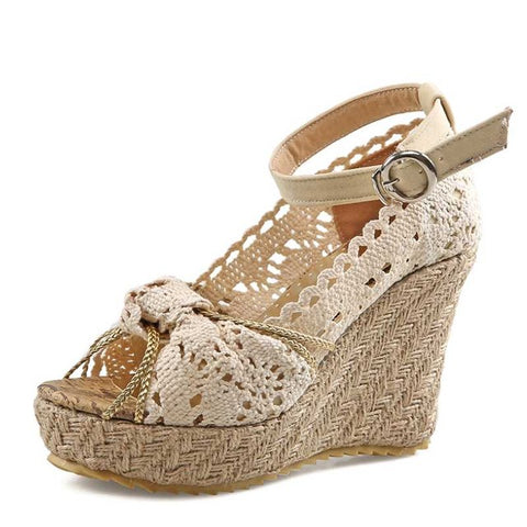 Image of KARINLUNA Designer Lace Upper High Heel Sandals Sweet Knot Open Toe Platform Ankle Straps Summer Grass Slope Wedge Shoes