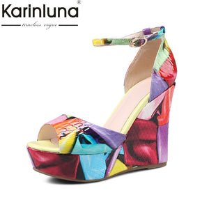 KarinLuna 2018 Printing Genuine Leather Summer Platform Sandals Shoes Women Wedge High Heels Party Woman Shoes