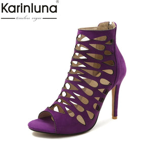 Karinluna 2018 Big Size 32-46 Customize Thin High Heel Sandals Hollow Gladiator Sandals Shoes Sexy Summer Party Women Shoes