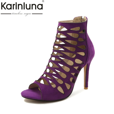 Image of Karinluna 2018 Big Size 32-46 Customize Thin High Heel Sandals Hollow Gladiator Sandals Shoes Sexy Summer Party Women Shoes