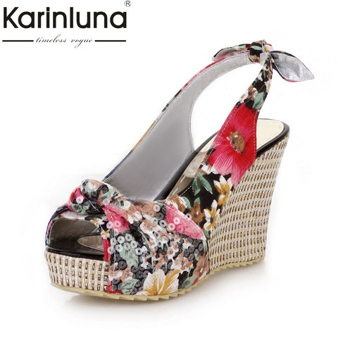 Image of Karinluna 2018 Dropship Bohemia Style Sandal Shoes Summer Woman Shoes Wedges High Heels Platform Beach Sandals