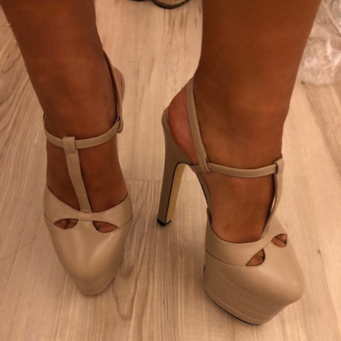 Karinluna 2019 big Size 42 inside sheepskin leather Shoes Woman High Heels Platform Party Wedding brides Sandals Women PUMPS