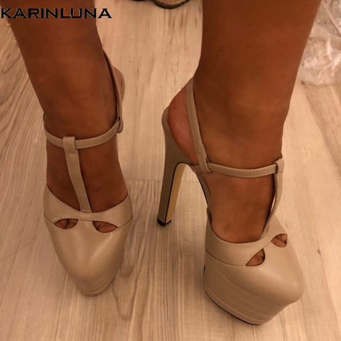 Image of Karinluna 2019 big Size 42 inside sheepskin leather Shoes Woman High Heels Platform Party Wedding brides Sandals Women PUMPS