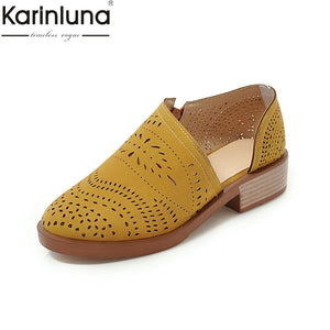 Karinluna Big Size 43 Chic Style leisure hollow chunky heels Office Lady Comfortable women's sandals Classics women's Shoes