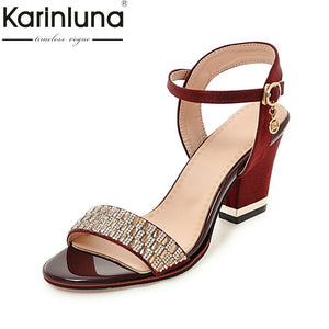 f14e854a39e Karinluna New Bling Upper Plus Size 32-43 Ankle Strap Square High Heels  Women Shoes ...
