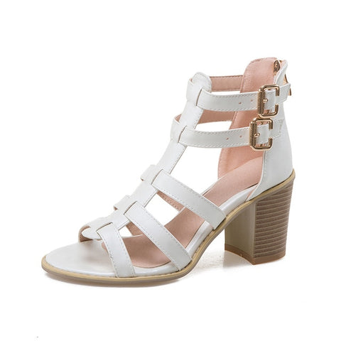 Karinluna big Size 33-43 Brand shoes women square high Heel Sandals Summer Shoes Woman Sexy gladiator footwear