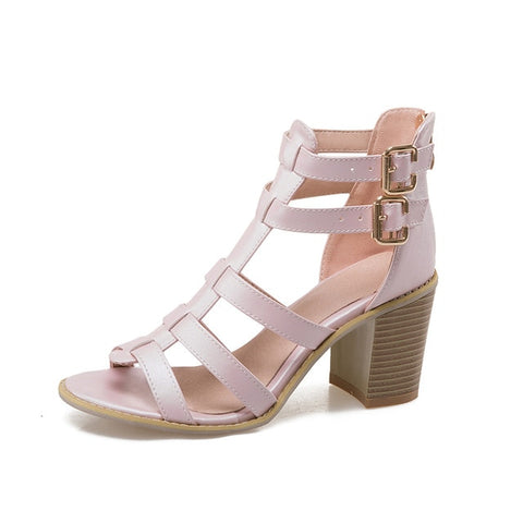 Image of Karinluna big Size 33-43 Brand shoes women square high Heel Sandals Summer Shoes Woman Sexy gladiator footwear