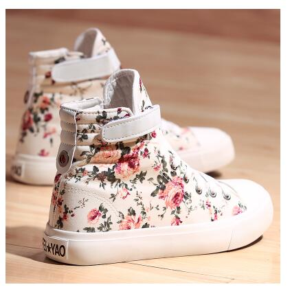 Korean Version Sweet Flowers Vulcanize Shoes Canvas Sneakers Basket Female Casual Shoes High Top Casual Flat Shoes Trainer Women