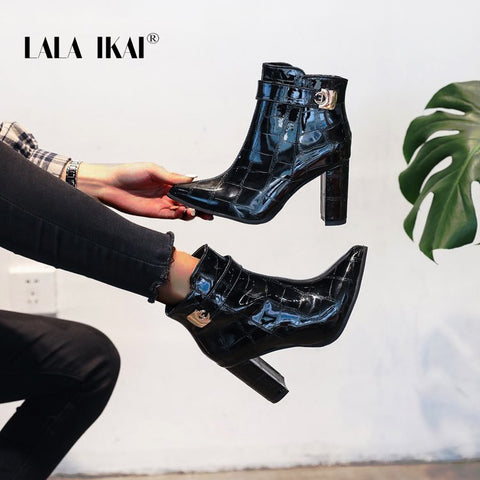 LALA IKAI Boots Woman Autumn Winter Pu leather Ankle Boots Female High Heels Zipper Chelsea Boots zapatos de mujer XWC6096-4