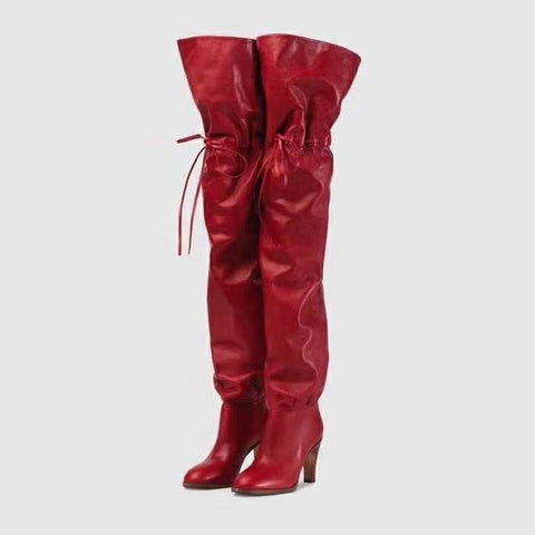 Image of Ladies Fetish Shoes Red black Slip On Celebrity over the knee long boots for Women high Heel runway design thigh high boots