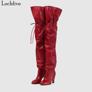 Ladies Fetish Shoes Red black Slip On Celebrity over the knee long boots for Women high Heel runway design thigh high boots