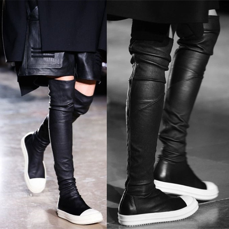 5537ea54e4 Large Size 35-43 Leather Over The Knee Boots Runway Sport Shoes Woman  Flatform Casual Flats Thigh High Boots Spring Slim booties