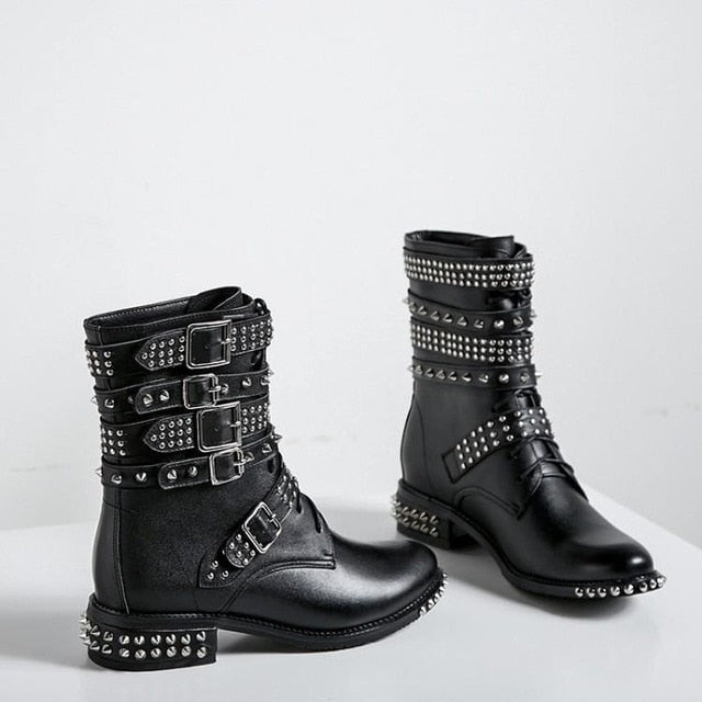 d1878273ee04 Luxury Black Real Leather Ankle Boots For Women Round Toe Low Chunky Heel  Cool Studded Rivets. Hover to zoom
