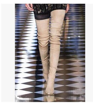 7c3174f1 ... Luxury Brand Shoes Women Boots Thigh High Pointed Toe Stretch Fabric  High Knit Over The Knee