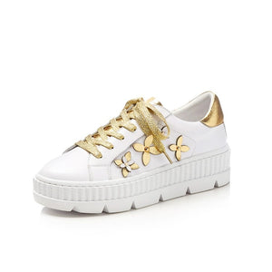 MLJUESE 2018 women sneakers cow  leather lace up floral white color autumn spring cut-outs Vulcanize Shoes fashion sneakers