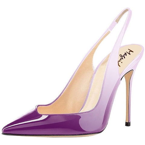 Maguidern 4 inches high heel pumps,Patent Leather Pointy Toe Stilettos Heel Slingback Pumps Dress Shoes