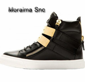 Moraima Snc Brand Design Women Sneakers Shoes Casual Black Red Shoes Gold Metal Decor Flats Shoes Women Round Toe Ankle Boots