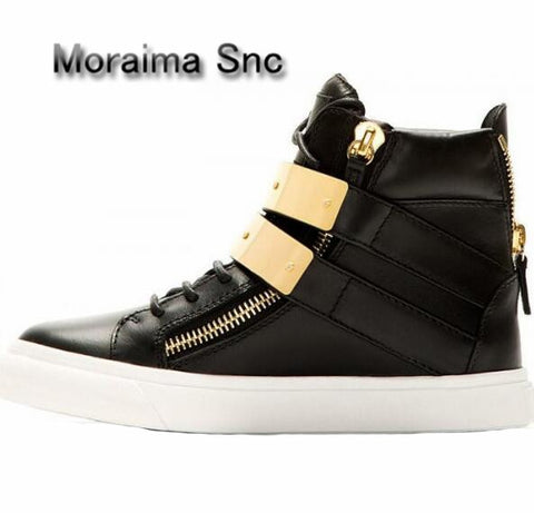 Image of Moraima Snc Brand Design Women Sneakers Shoes Casual Black Red Shoes Gold Metal Decor Flats Shoes Women Round Toe Ankle Boots