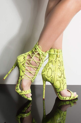 Image of Moraima Snc Open Toe Lace-up Woman Sandal Summer Sexy Green Snakeskin Leather Gladaitor Shoes Thin Heels Party Dress Heels