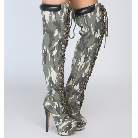 cd19268bea7 ... Image of Mstacchi Sexy Elastic Cross-tied Over The Knee Boots Women  Stiletto Heel Thigh ...