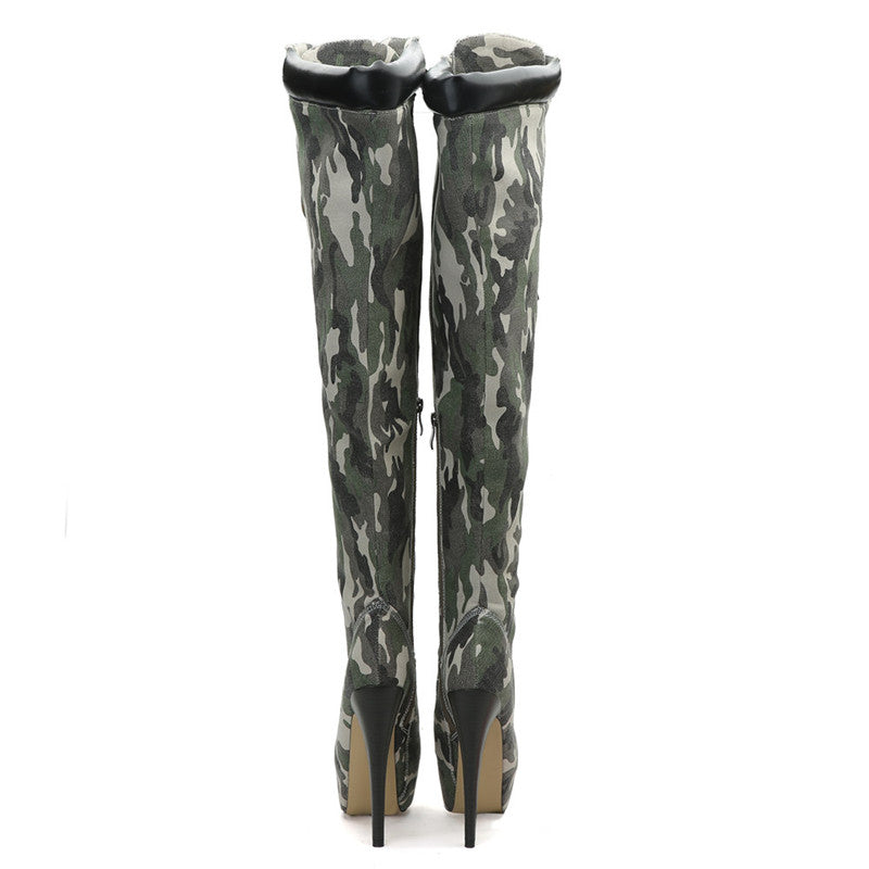 bf6377e8605d Hover to zoom · Mstacchi Sexy Elastic Cross-tied Over The Knee Boots Women  Stiletto Heel ...