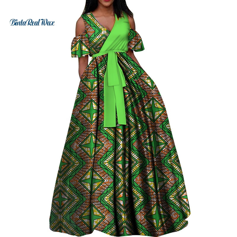 06f4656d842 New African Print Long Dresses for Women Bazin Riche 100% Cotton ...