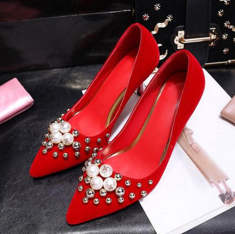 New Brand Pearl Bridal Shoes Red Pointed Toe Wedding Shoes Women Party Stiletto Heel Party Pumps Dress Sexy Woman High Heels