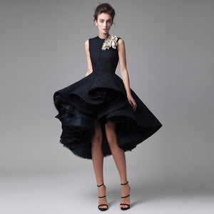 93d5af6e11b New Chic Evening Gowns Hand Made Flower Unique High Low Short Formal Party Dress  Hot Knee ...