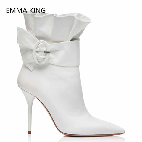 New Elegant Thin Heels Ankle Boots For Women Pointed Toe Ruffles Pleated Designer Shoes Woman Luxury White Red Black High Heels