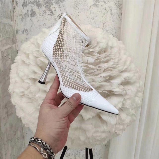 New High Heels Ankle Boots For Women Black Mesh Cut Outs Summer Boots Luxurious Rhinestone Pointed Toe Runway Party Shoes Woman