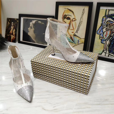 Image of New High Heels Ankle Boots For Women Black Mesh Cut Outs Summer Boots Luxurious Rhinestone Pointed Toe Runway Party Shoes Woman
