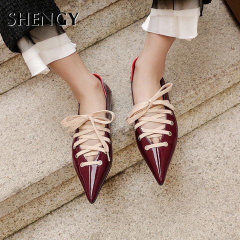 New New Spring Summer Pointed Toe Low Heels Shoes Woman Cross Strap Lace Up Gladiator Pumps Black Office Shoes