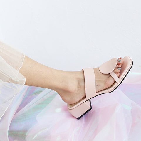 New women slippers genuine leather 4.2cm square heels slipper open toe women sandals pink blue ladies casual shoes woman 32-48