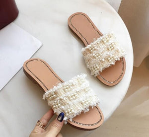 Newest brand design women slippers summer flats sandals girls mixed colors pearl string bead chaussures femme ete 2018