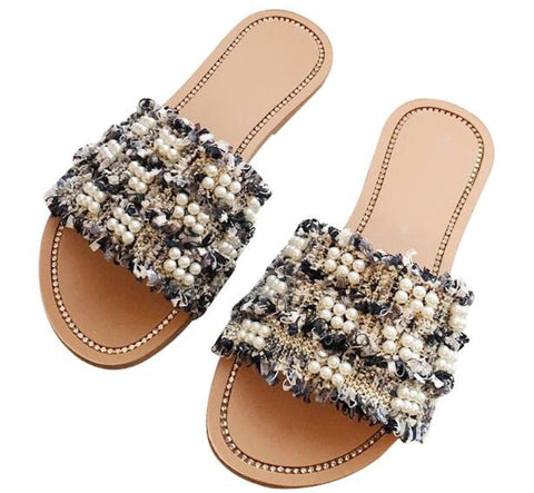 Image of Newest brand design women slippers summer flats sandals girls mixed colors pearl string bead chaussures femme ete 2018