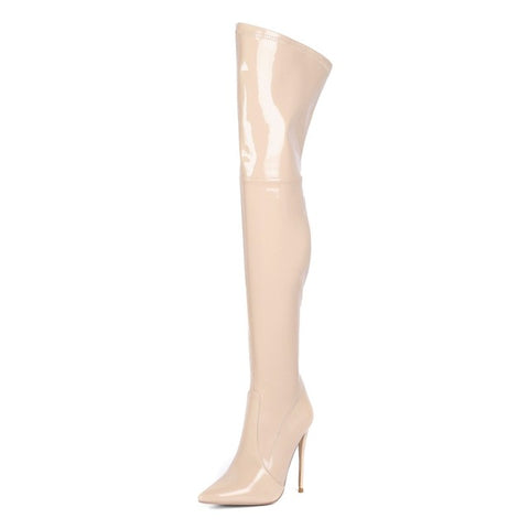 Olomm New Fashion Women Shiny Thigh High Boots Sexy Stiletto Heel Boots Nice Pointed Toe 5 Colors Party Shoes Women US Size 3-13