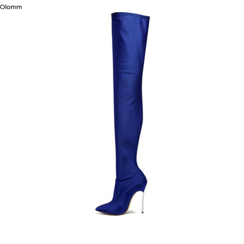 Olomm Women Over The Knee Flexible Boots Stiletto Metal Heels Boots Nice Pointed Toe Black Blue Party Shoes Women US Size 3-13