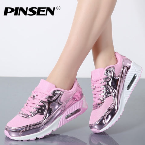 Image of PINSEN Fashion 2019 Casual Shoes Woman Summer Comfortable Breathable Mesh Flats Female Platform Sneakers Women Chaussure Femme