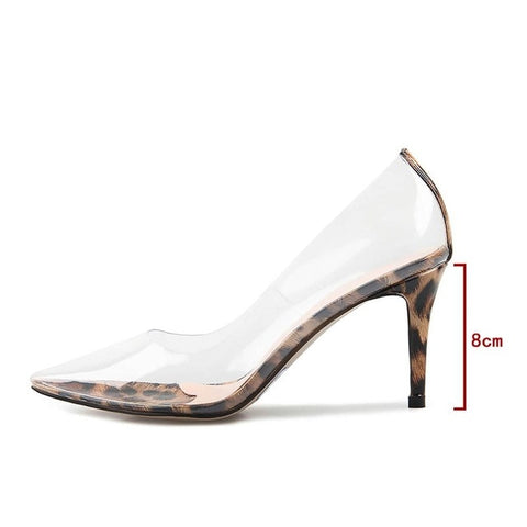 Perixr Women PVC Clear Pumps Leopard Fashion Sexy High Heel Pumps Pointed Toe Party PVC Thin Heel Spring Autmn Shoes for Women