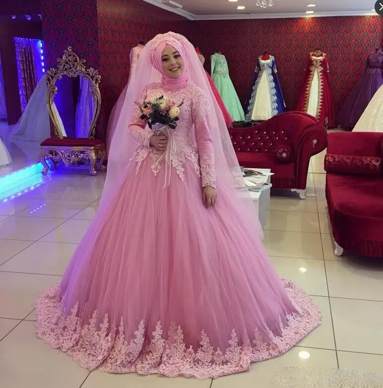 b0c42a2ace Pink Vestido De Noiva 2019 Muslim Wedding Dresses Ball Gown Long Sleeves  Tulle Lace Dubai Arabic Wedding Gown Bridal Dresses