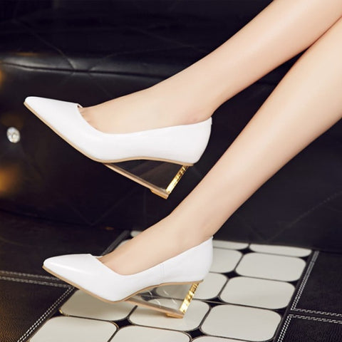 Pointed Toe Sexy High Heels Women Shoes Transparent Heel Ladies Shoes Pumps Comfortable Autumn Spring Office Shoes Women
