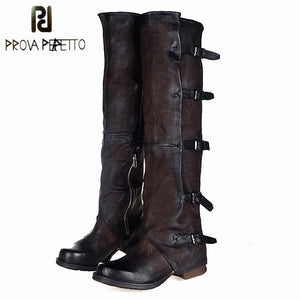 Prova Perfetto 2017 New Women Over The Knee Boots Vinatge Winter Riding Boots Flat Shoes Woman Platform Botas Zipper Buckle Boot