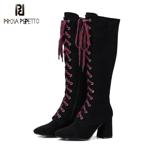 Prova Perfetto 2018 Fashion Real Leather Brown Solid Chunky Heels Knee High Boot Sexy Round Toe Cross-tied High Heel Women Boots
