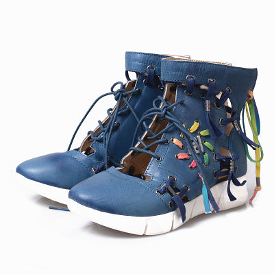 Image of Prova Perfetto 2018 Fashion Trend Mixed Color Woman Sneaker Real Leather Hollow Out Round Toe Wedge Lace-up Short Casual Boots