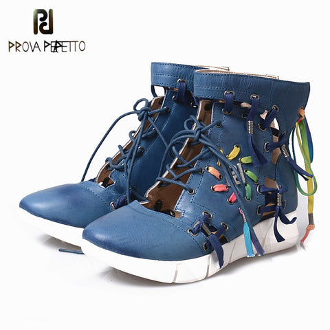 Prova Perfetto 2018 Fashion Trend Mixed Color Woman Sneaker Real Leather Hollow Out Round Toe Wedge Lace-up Short Casual Boots