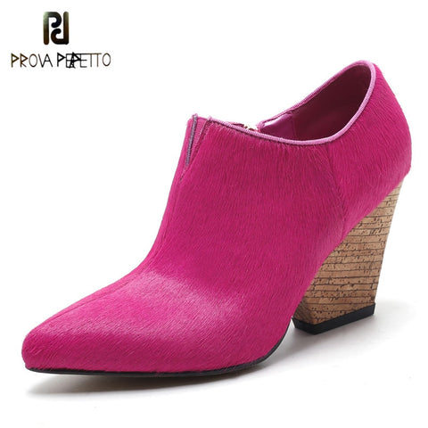 Prova Perfetto 2018 High Quality Horsehair Shoes Woman Pointed Toe High Heels Shoes Fashion Ladies Shoes Zipper Side Ankle Boots