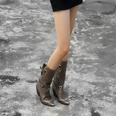 Prova Perfetto 2018 Luxury New Winter Cow Leather Woman Mid-calf Boots Thick Heel Pointed Toe Short Boots Keep Warm Martin Boots