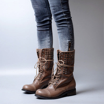 Image of Prova Perfetto 2018 New Arrival British Retro Style Real Leather Rivet Short Boot Round Toe Mid Heels Cross-tied Motorcyle Boots
