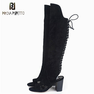 1fa2ed339b451 Prova Perfetto 2018 New Arrived Lace up Fashion Knee-high Boots Real Leather  High Heel ...