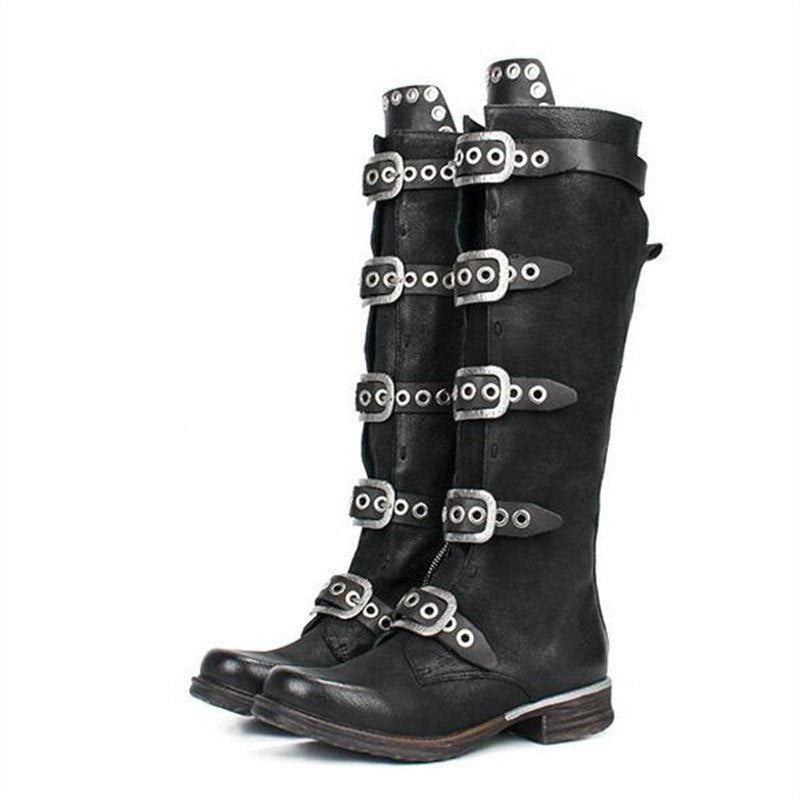 fd475ba2581 Prova Perfetto 2018 New Black Women Knee High Boots Genuine Leather ...